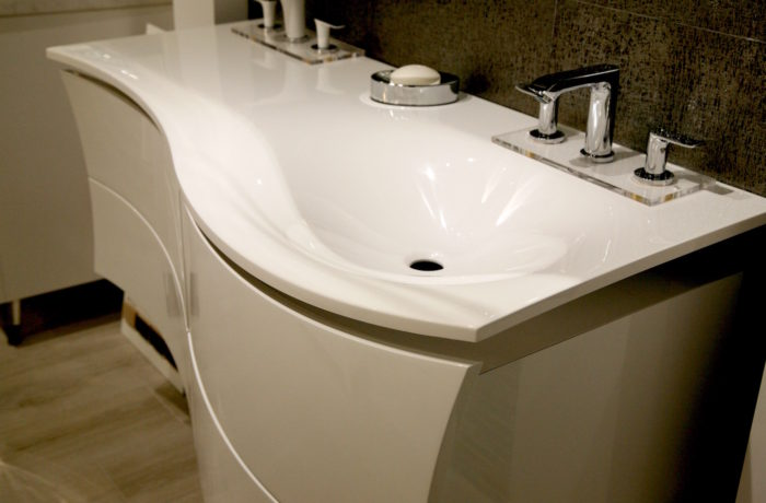 White high gloss modern Vanity and Sink