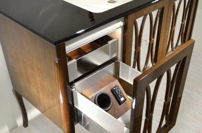 Brown modern wood and steel vanity